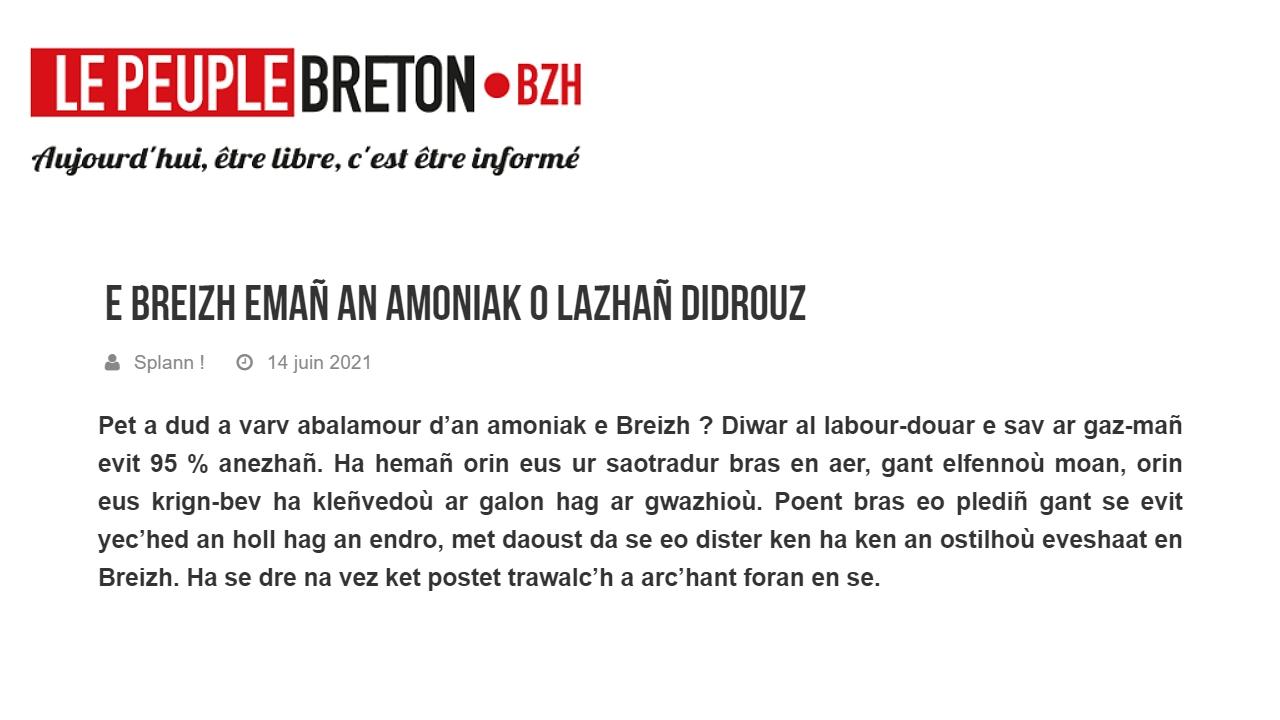 210614 - Le Peuple Breton E Breizh Emañ an amoniak o lazhañ didrouz