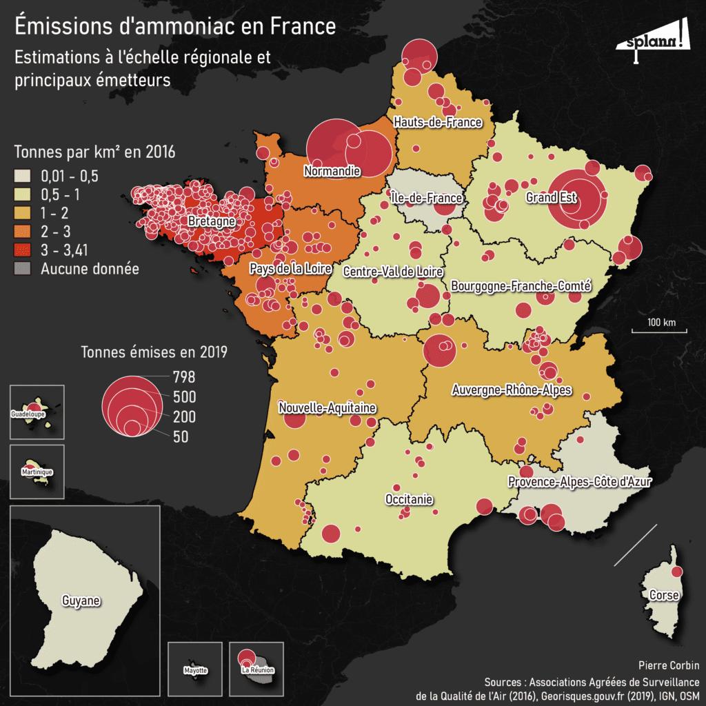 Estimations des émissions d'ammoniac en France et principaux émetteurs - Splann !