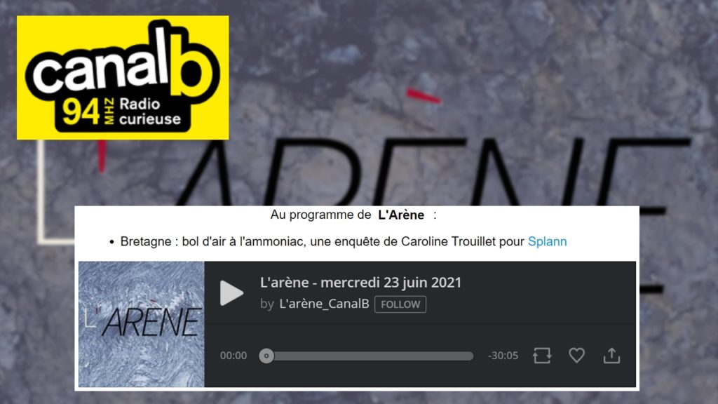210623 - CanalB Bretagne bol d'air à l'ammoniac interview Caroline Trouillet
